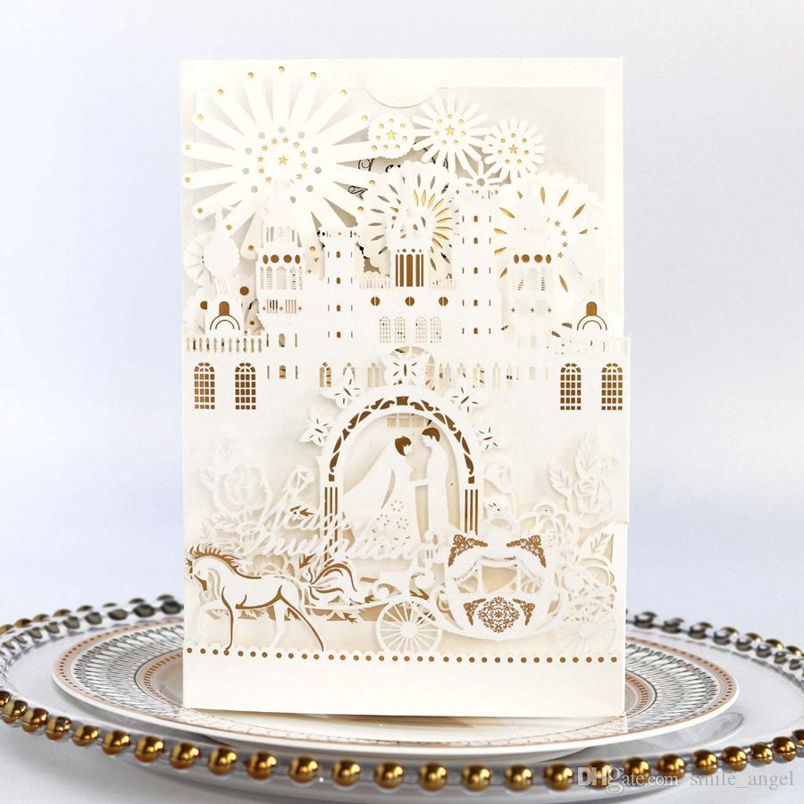 3D بطاقات دعوة الزفاف 3D الراقية الزفاف ليموزين الليزر الجوف خارج العروس والعريس حفل زفاف يدعو الحسنات بواسطة dhl