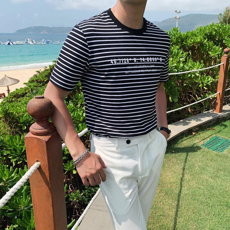 Yaz% 100 Pamuklu Tişört Erkek Moda 2020 Kısa Kollu Çizgili T Shirt Erkekler O-Boyun Slim Fit Casual Tee Gömlek Erkekler Streetwear T200528
