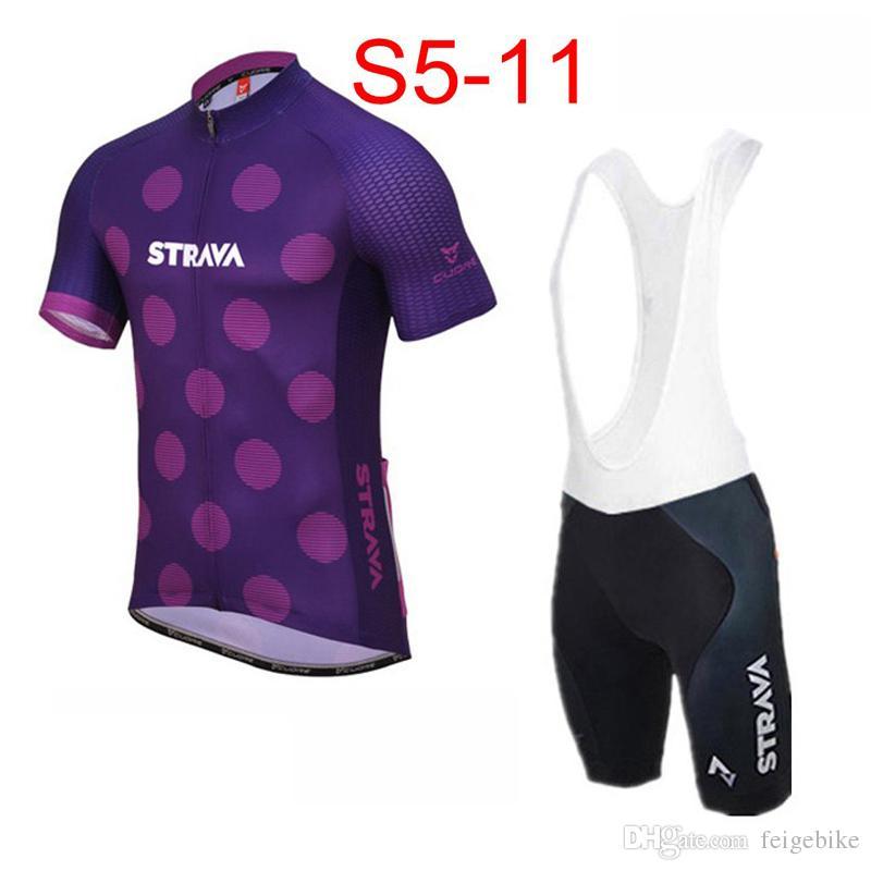 Mens Strava 팀 사이클링 의류 세트 자전거 저지 턱받이 반바지 키트 여름 빠른 건조 자전거 짧은 소매 의류 31890