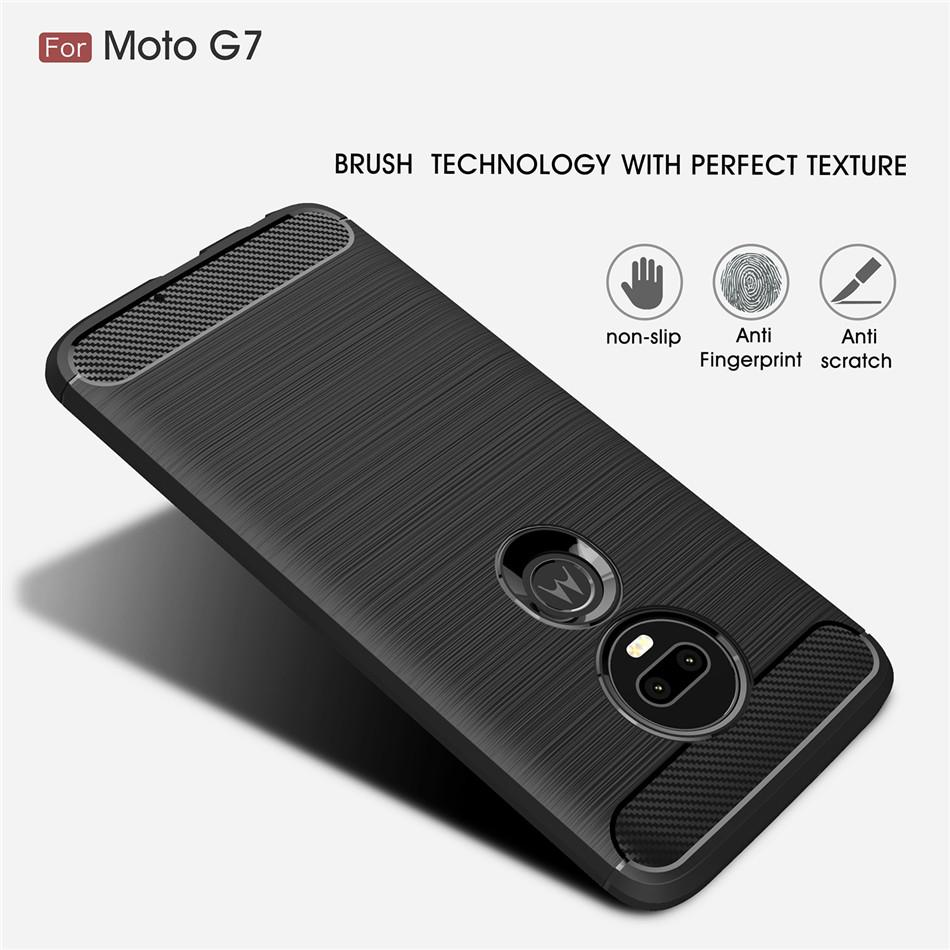 Silicone Case For Moto G7 Power G7 Play G6 Plus ShockProof Fitted Carbon Fiber Soft TPU Phone Case For Moto G8 Power G8 play