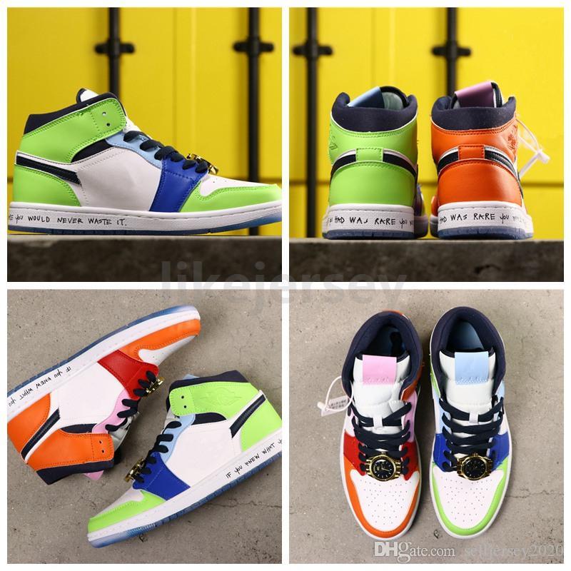 Новое поступление Мелодия Ehsani x бесстрашный 1 Mid мужская баскетбольная обувь 1s оранжевый зеленый золотые часы сращивание Мужчины Женщины дизайнерские спортивные кроссовки