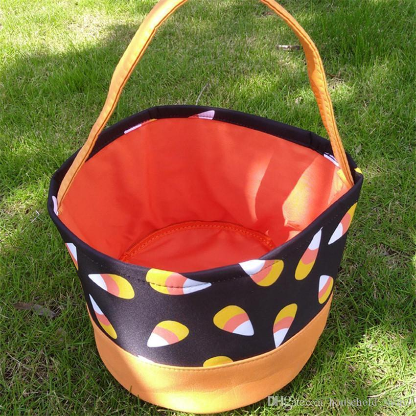 Halloween Bucket Gift Wrap Girls Boys Child Candy Collection Bags Halloween Handbag Holiday Storage Basket Party Supplies A05