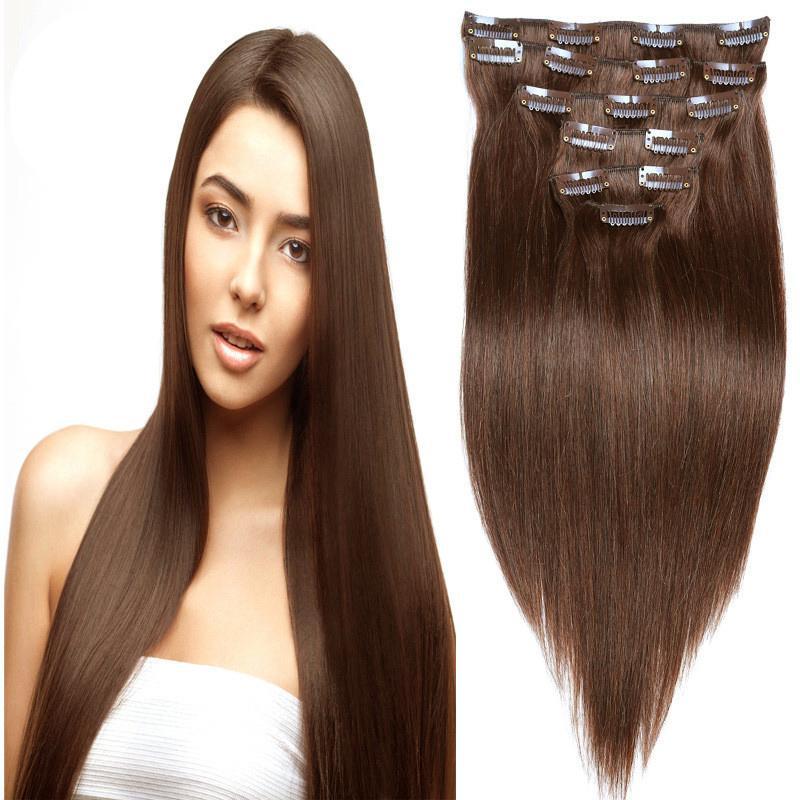 Clip Elibess Marca Virgen del pelo humano en extensiones de cabello opción del color recto sin procesar Clip Ins 12-24 pulgadas disponible