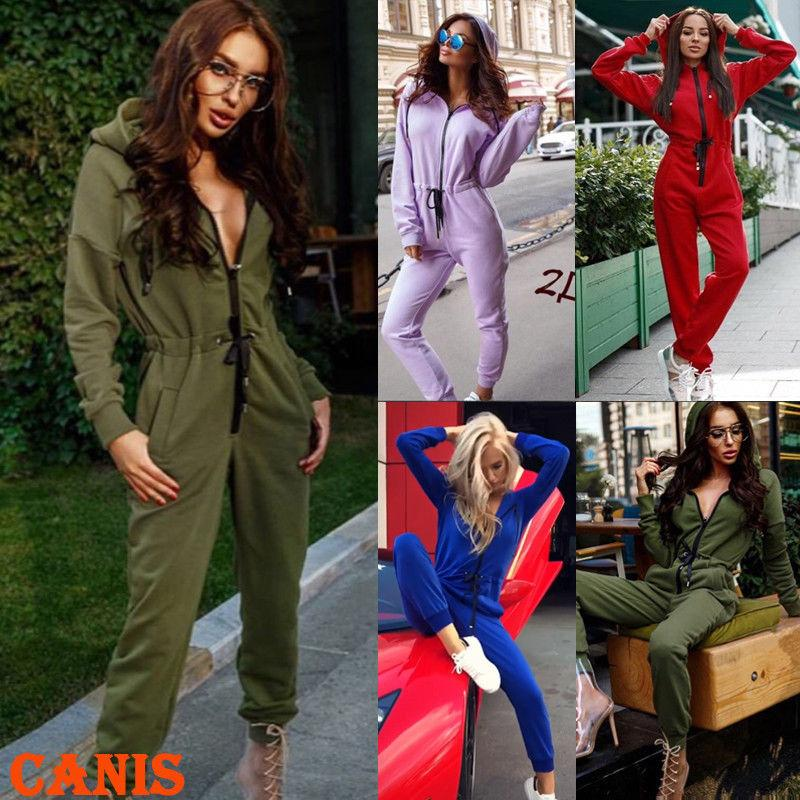 Womens One Piece Jumpsuit Zip Up Long Sleeve Bodycon Pants Rompers