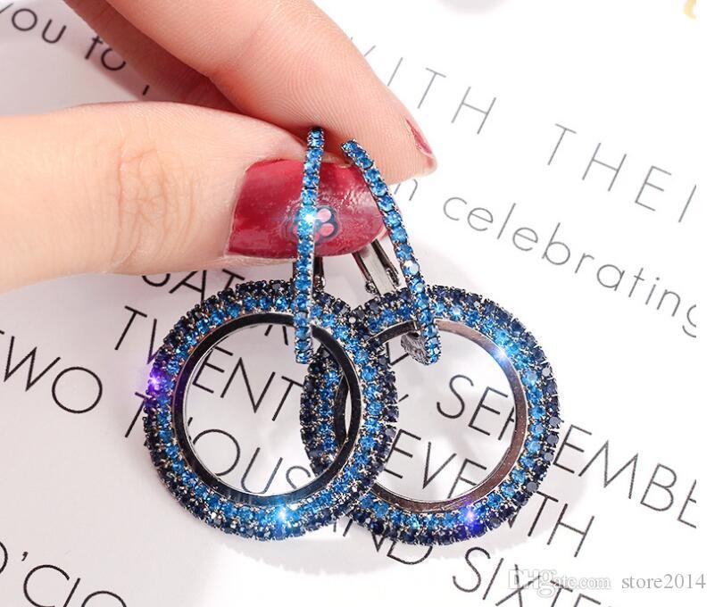 Nuovo designer 925 ago d'argento strass cerchio di cristallo da orecchini lunghi Swarovski temperamento personalità selvaggia orecchini coreani