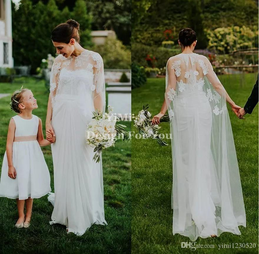 2019 Fairy Mermaid Wedding Dresses With Wrap Front Split Backless Sweep Train Appliques Garden Country Beach Bridal Gowns robe de mariée