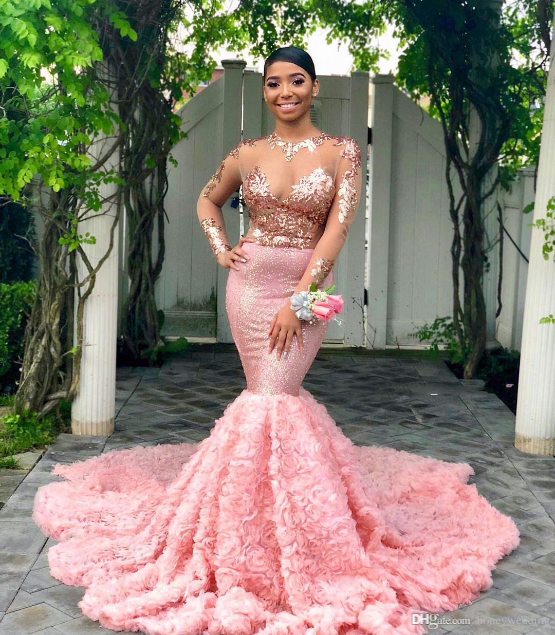 2019 Pink Long Sleeves Black Girls Prom Dress Mermaid Formal Pageant Holidays Wear Graduation Evening Party Gown Custom Made Plus Size