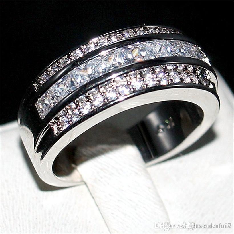 Luxury Princess-cut White Topaz Gemstone Rings Fashion 10KT White Gold filled Wedding Band Jewelry for Men Women Size 8,9,10,11,12