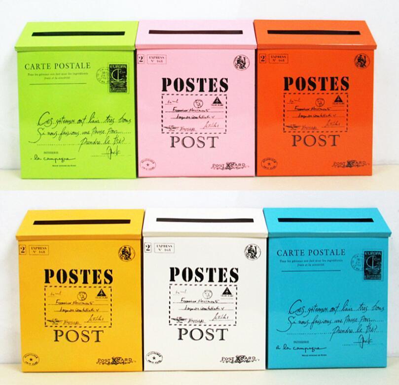 30cm Ameracan Style Vintage Metal Mail Box Case Tin Newspaper Letter Mailbox Waterproof Postal Lock Boxes Garden Oranment Yard Decoration