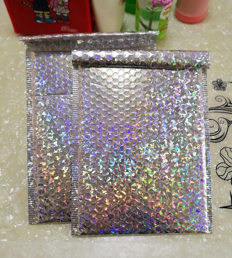 15x13cm/23x30cm Large Sliver laser Wrap Glitter Metallic Bubble Mailer Bag Gift Bag Aluminum Foil Seals Bubble Envelope Gift