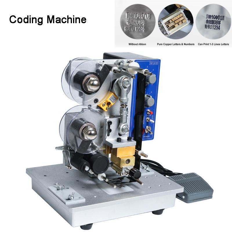Caráter de codificação do selo quente semi automático da máquina da fita do selo, impressora de código quente da máquina de codificação da data da fita HP-241