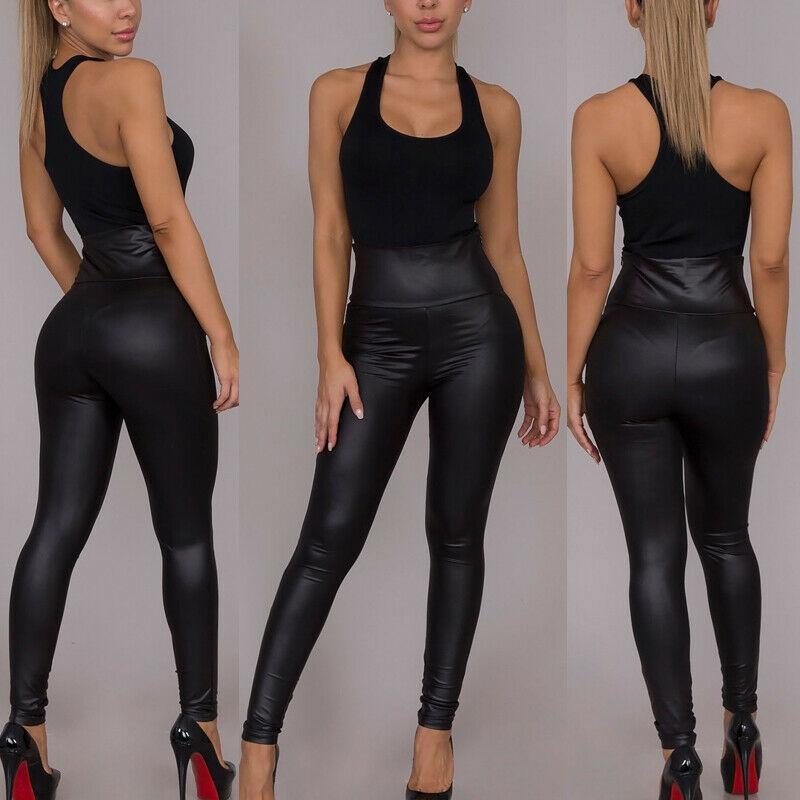 Women Ladies PU PVC Wet Leather Look Leggings