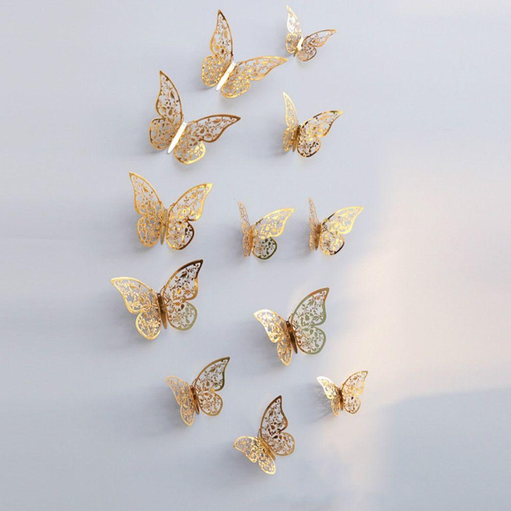 12шт 3D бабочки полые DIY домашнего декора стикер стены
