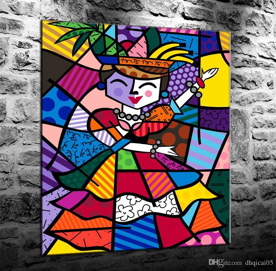 Romero Britto Carmen Miranda, HD Impresión en lienzo Decoración para el hogar Arte Pintura / Sin marco / Enmarcado