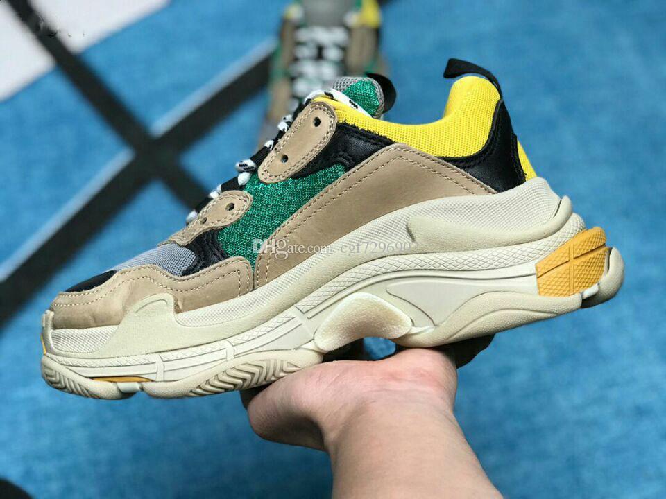 2019 Çok Lüks Üçlü S Tasarımcı Düşük Yeni Varış Sneaker Kombinasyonu Tabanı Tabanı Çizmeler Bayan Bayan Koşucu Ayakkabı En Kaliteli Spor Rahat ayakkabı