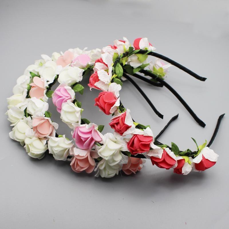 10 шт. / лот свадьба невесты головной убор женщины аксессуары для волос Pe Роза Шпилька искусственный цветочный ручной работы головной убор для невесты Hairband