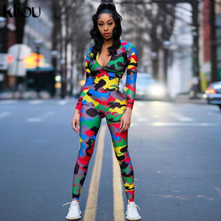 Kliou longa magro jumpsuit Mulheres 2019 Zipper Colarinho alto completo manga Camouflage Casual bodysuit Sexy macacãozinho Ladies playsuit T200527