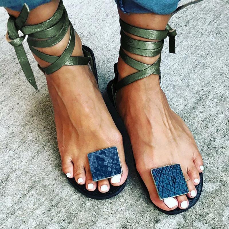 Sandalias de las mujeres de Bohemia de Las Mujeres Zapatos Casuales Sexy Beach Summer Girls lace up Gladiador Moda Lindo Pisos Sandalias #0417