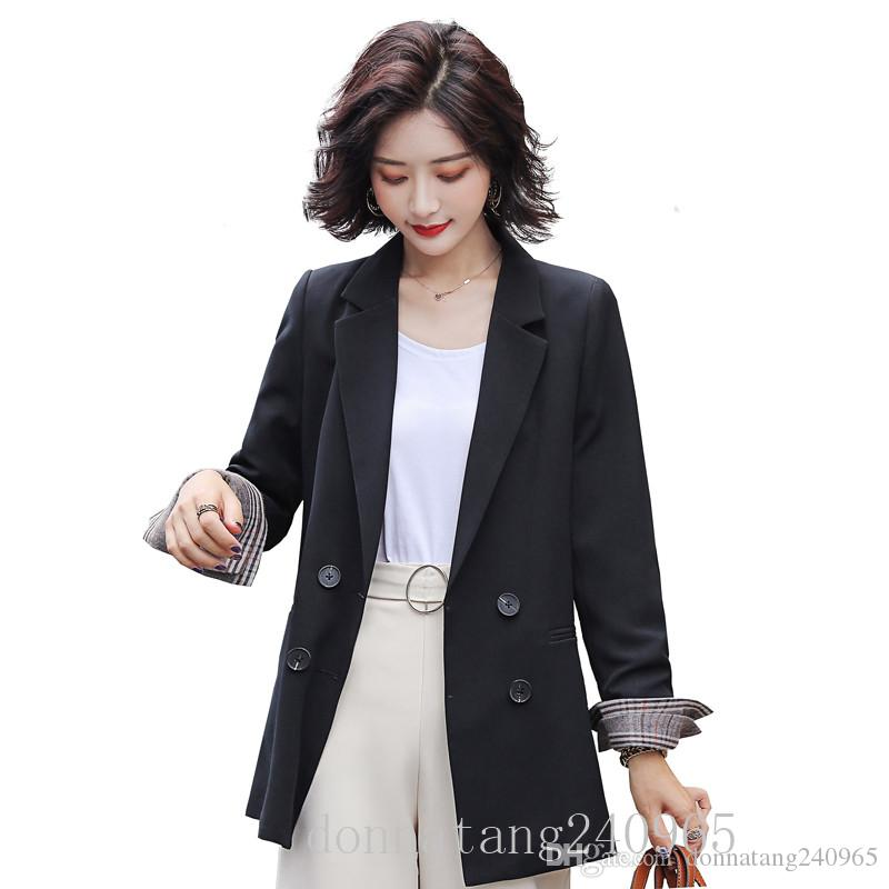 BS1901 Double Breasted Office Ladies Solid Blazer Long Sleeve Loose Suit Coat Jacket Women blazers