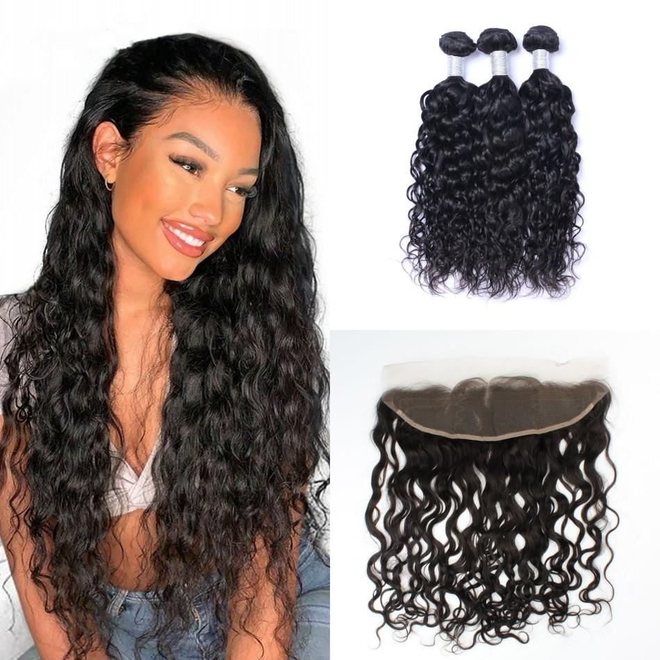 Brazilian Virgin Human Hair Water Wave Bundles with Frontal Wet and Wavy Hair Weave 3 Bundles with Frontal Closure