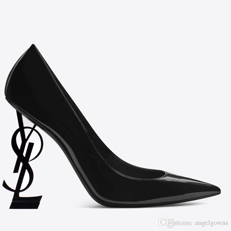 2019 Designer Black High Heels Leather Shoes Women Pointed Toe Wedding Party Dresses Shoes Sexy Ladies Fashion Black Pumps For Prom Evening