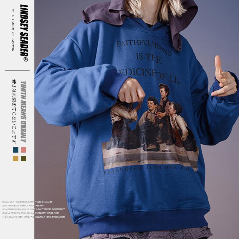 Lindsey Seader Sweat à capuche avec chapeau Imprimer Ville Mode Sweat à capuche polaire chaude Streetwear Automne Outwear hommes