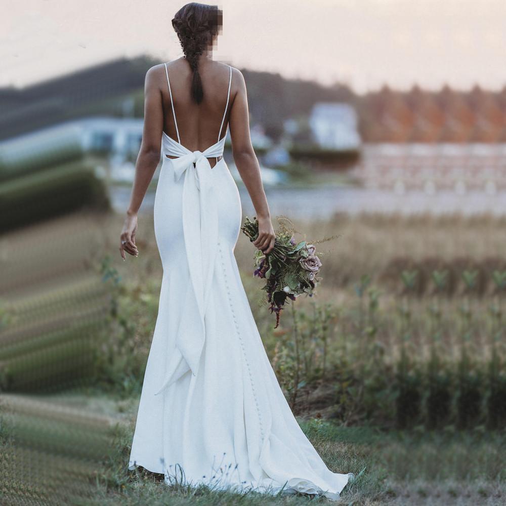 2020 New Spaghetti Straps Satin Mermaid Wedding Dresses Backless Bow Sash Boho Sweep Train Cheap Wedding Bridal Gowns robes de mariée BM1552