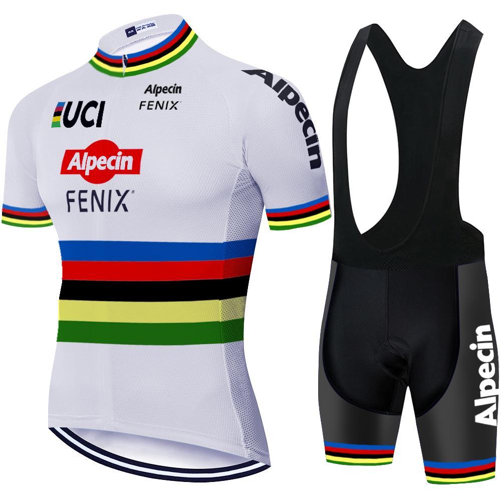 UCI 2020 프로 팀 Alpecin 사이클링 저지 세트 여름 통기성 MTB 자전거 자전거 의류 턱받이 반바지 키트 로파 Ciclismo