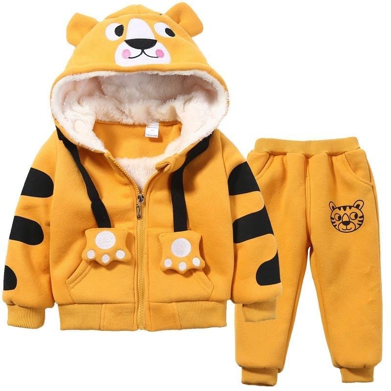 Fofo Rapazes Meninas Cartoon Tigers Vestuário Ternos do bebê além de veludo Hoodies Calças 2pcs Define miúdos criança Sports roupas de inverno 1-5YrsMX190919