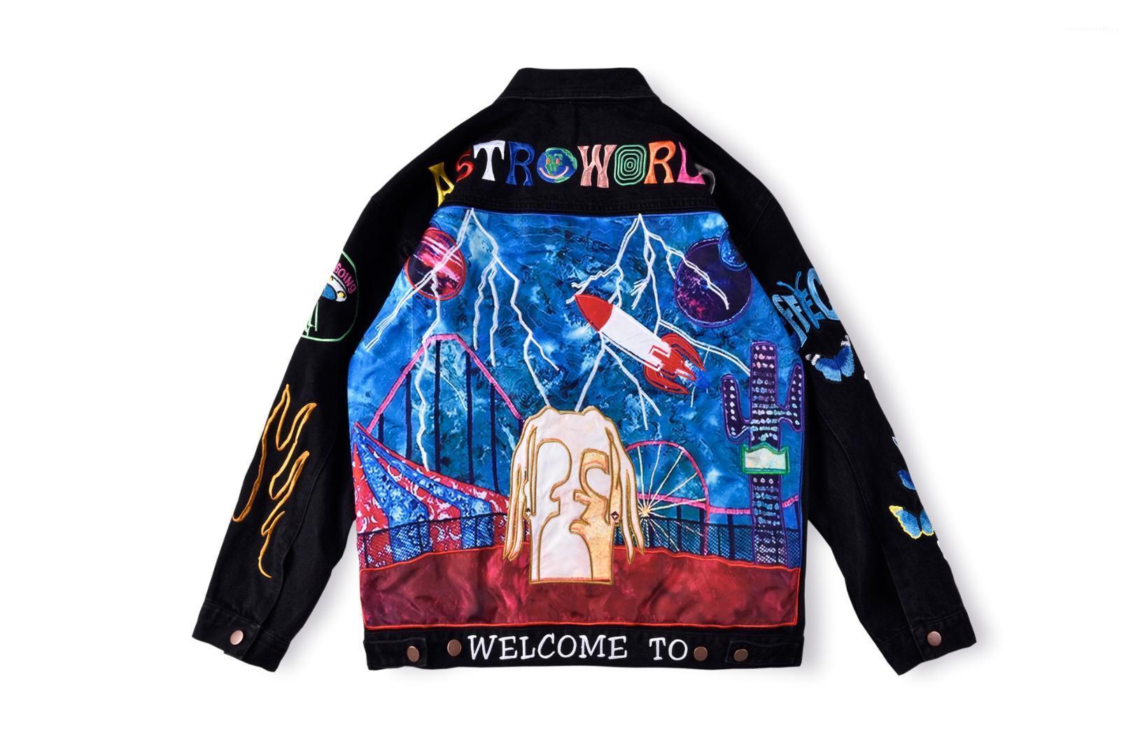 Los adolescentes de Calle Coats Hip Hop Rapper Denim Jacket Diseñador de moda de alta calidad de la chaqueta de Jean bordado Negro