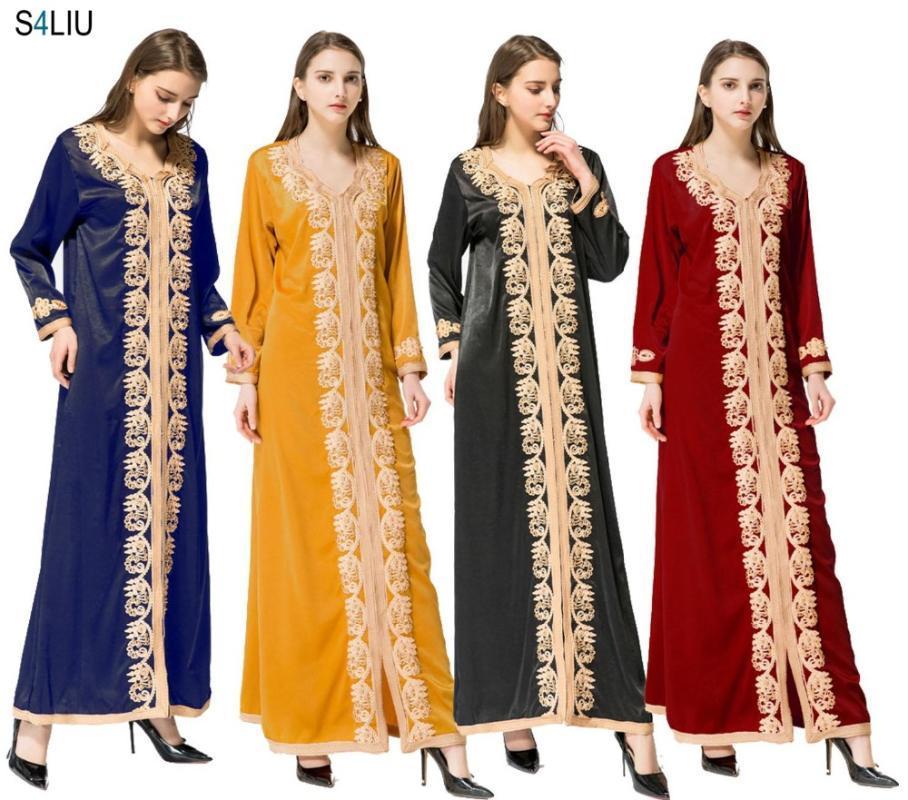 Женщины Maxi Длинные рукава Длинные Vintage платье Плюс Размер вышивки Кафтан марокканская исламская Мусульманская одежда платье Длина пола