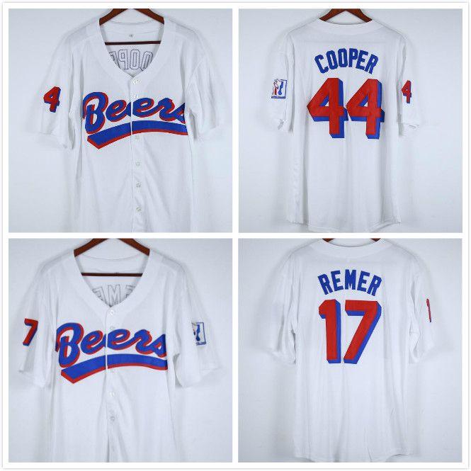 Doug Remer 17 Joe Coop Cooper 44 Baseketball Jersey Biere Movie Button Down Weiß Alle genähten Stich genäht Hohe Qualität Trikots