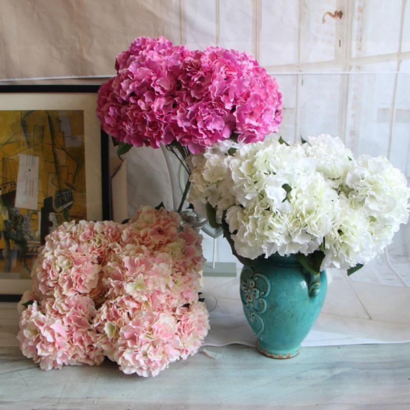 5 Cabezas / Ramo artificial de decoración de boda Flores falsas plantas ramo de novia de flores la decoración del hogar Accesorios 2 Ramo