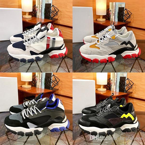 새로운 남성 운동화 송아지 가죽 파리 플랫폼 신발 흔적 트레이너 빈티지 패션 나일론 낮은 맨 캐주얼 신발 Chaussure와 상자를 남겨주