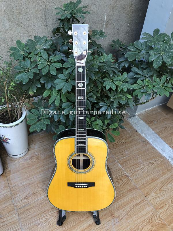 chitarra su ordinazione, chitarra acustica top in abete massello D stile 41 pollici, tastiera in ebano, vero abalone intarsio delle coperture, trasporto libero