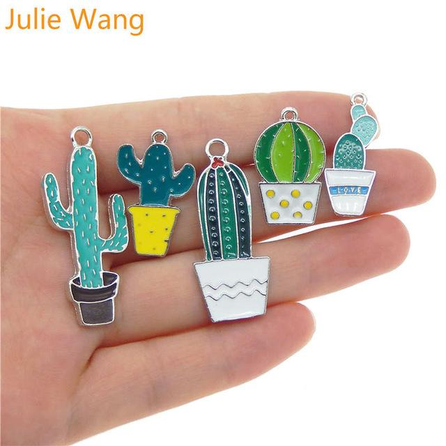 Charms Julie Wang 5PCS Mixed Enamel Plant Potted Cactus White K Tone Charms Necklace Pendant Findings DIY Jewelry Making Accessory