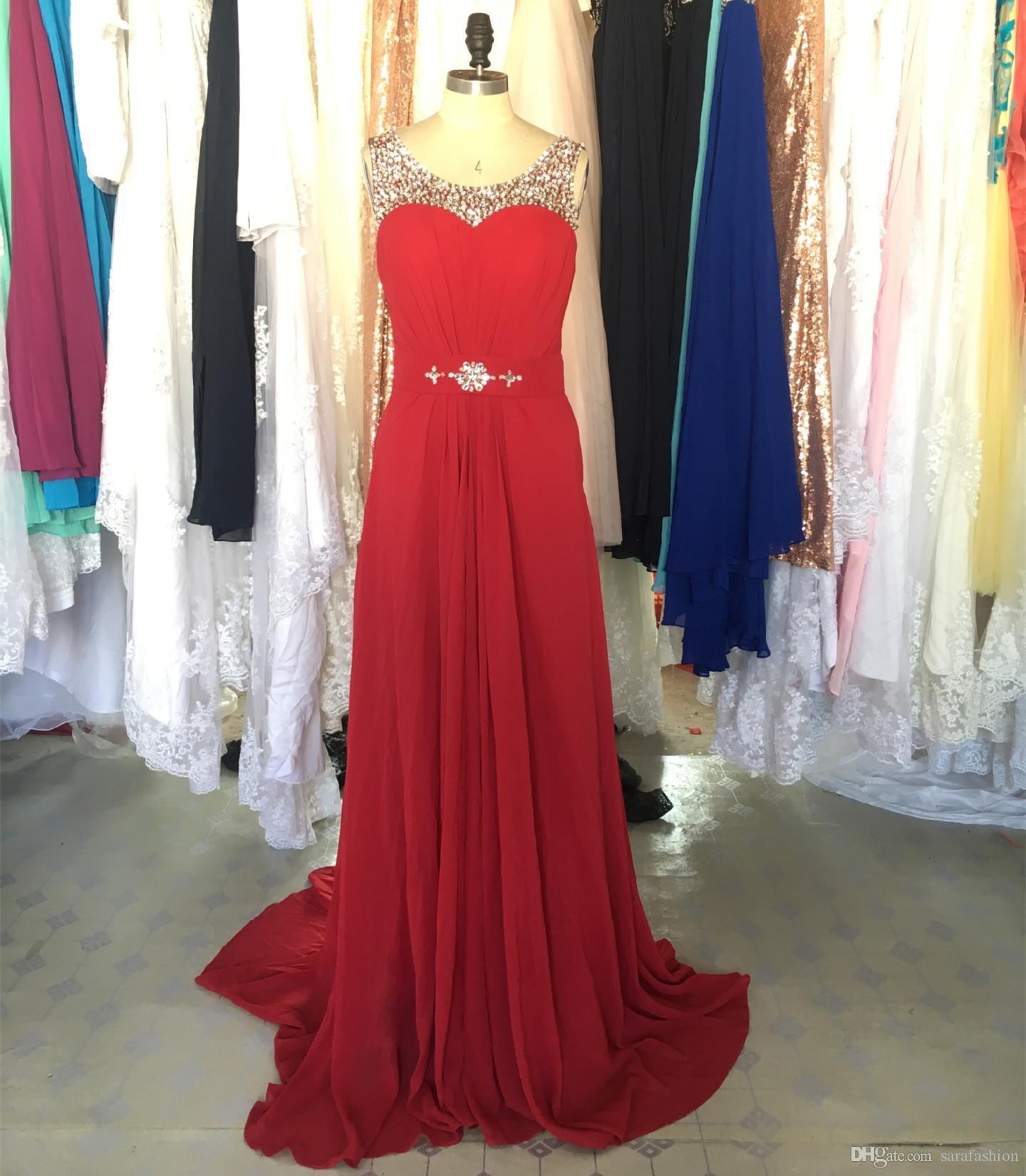 Frisado Colher Pescoço Chiffon Vestido de Noite 2019 Vermelho Escuro Longos Vestidos de Baile Elegante Bainha Vestido de Noite