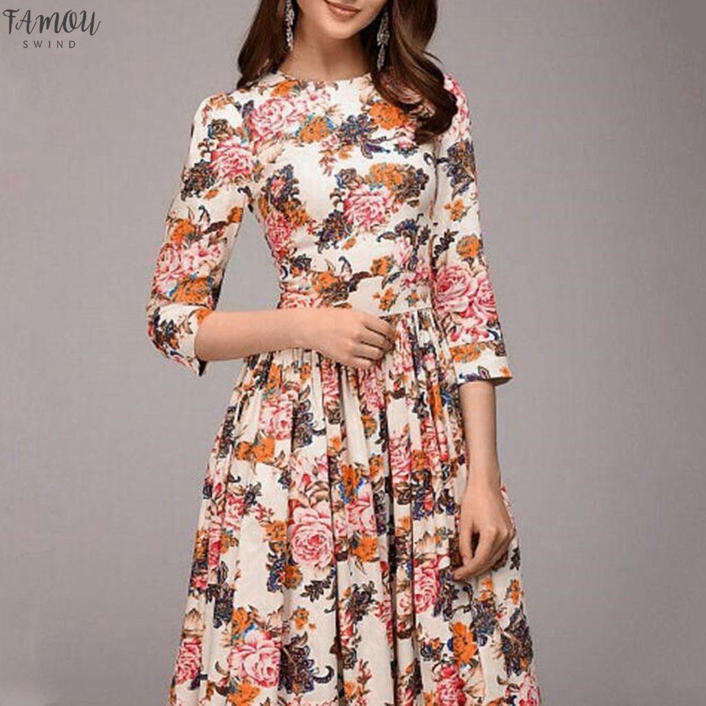 Womens vestido floral Imprimir Casual fina Vintage Escritório A Line Work na altura do joelho Vestido Vestidos De Mujer Verão Vestidos Hot Vendas