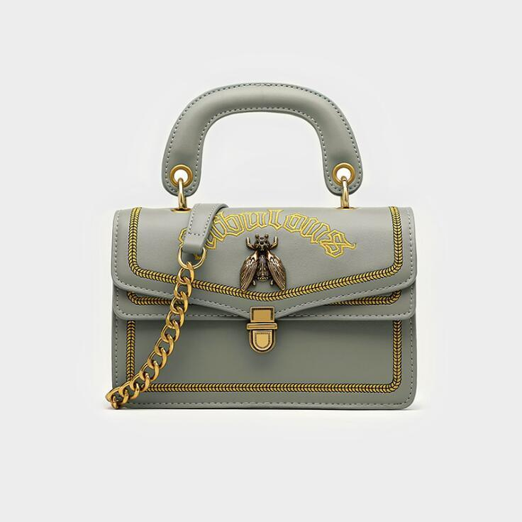 Factory wholesale women handbag new leather handbag sweet cartoon embroidery women chain bag street fashion embroidery shoulder bag