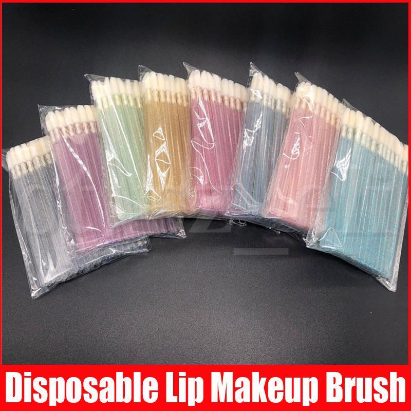 50Pcs/Set Disposable Lip Brush Lip Gloss Wands Applicator Makeup Cosmetic Tool Black Color Makeup Brush