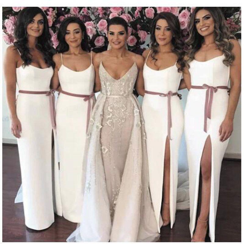 Sexy High Split Spaghetti Straps Bridesmaid Dresses 2020 Column Western Style Cheap Wedding Party Dress robe demoiselle honneur