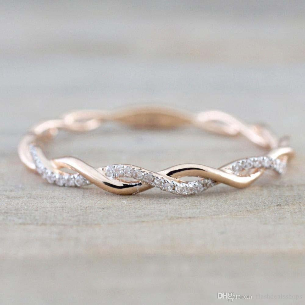 Designer Wedding Rings Jewelry New Style Round Diamond Rings For Women Thin Rose Gold Color Twist Rope Stacking In Stainless Steel Jeweler Simple Engagement Rings From Flashdealsshops 1 42 Dhgate Com