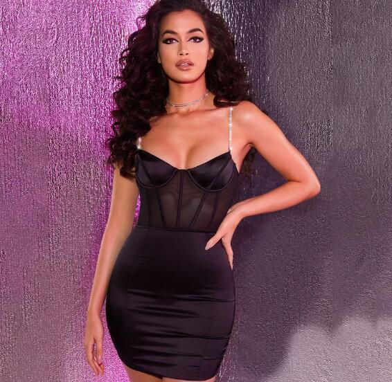 sexy del pacchetto dell'anca scarna delle donne del locale notturno di vendita calda europea americane gonna di colore solido maglia cucitura della bretella del vestito Abiti casual