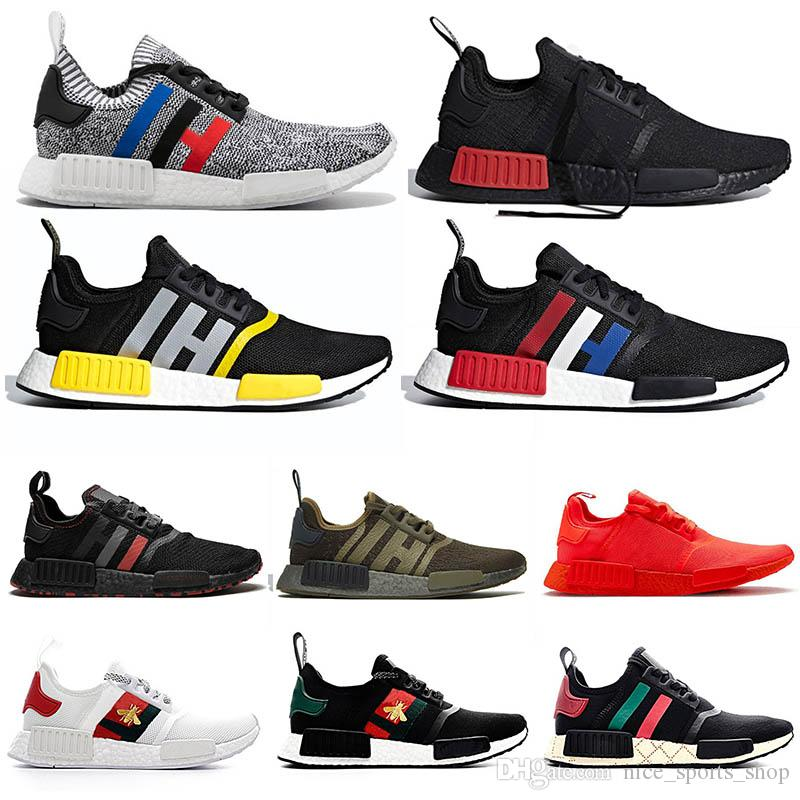 2020 Nmd R1 Mens Running Shoes Bee Primeknit Black Red Peach Blue
