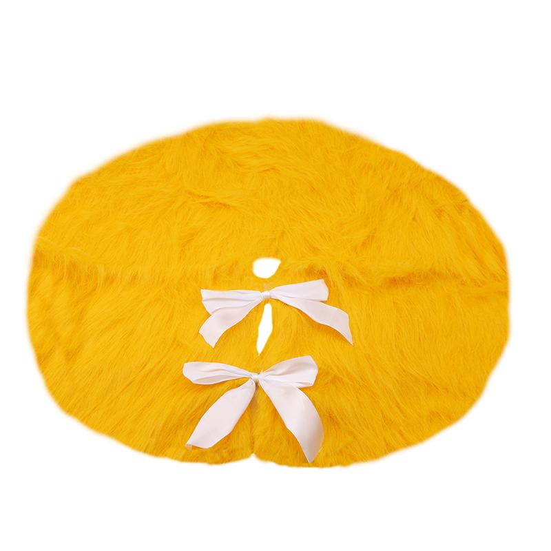 Fashion Gold Yellow Plush Christmas Tree Skirts Fur Carpet Merry Christmas Decoration For Home Tree Skirts New Year Decoration