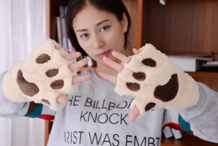 Winter cute cartoon cat girl fingerless cat paw warm gloves thick velvet