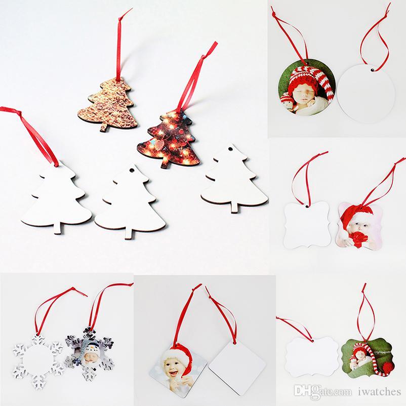 Передача тепла печать Рождество кулона сублимация MDF рождественских украшений кулон перенос снег круг тепло цветок пустой пластина