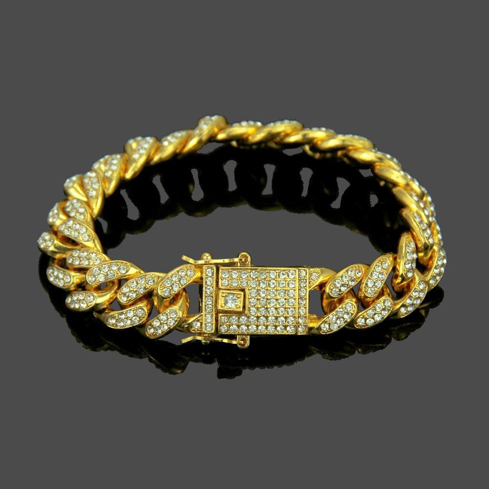 Cadenas nuevas pulseras de oro cubana Enlace punk brazalete de joyería de Hip Hop Oro Plata RhinestoneColor Diseño regalo de los hombres para los hombres