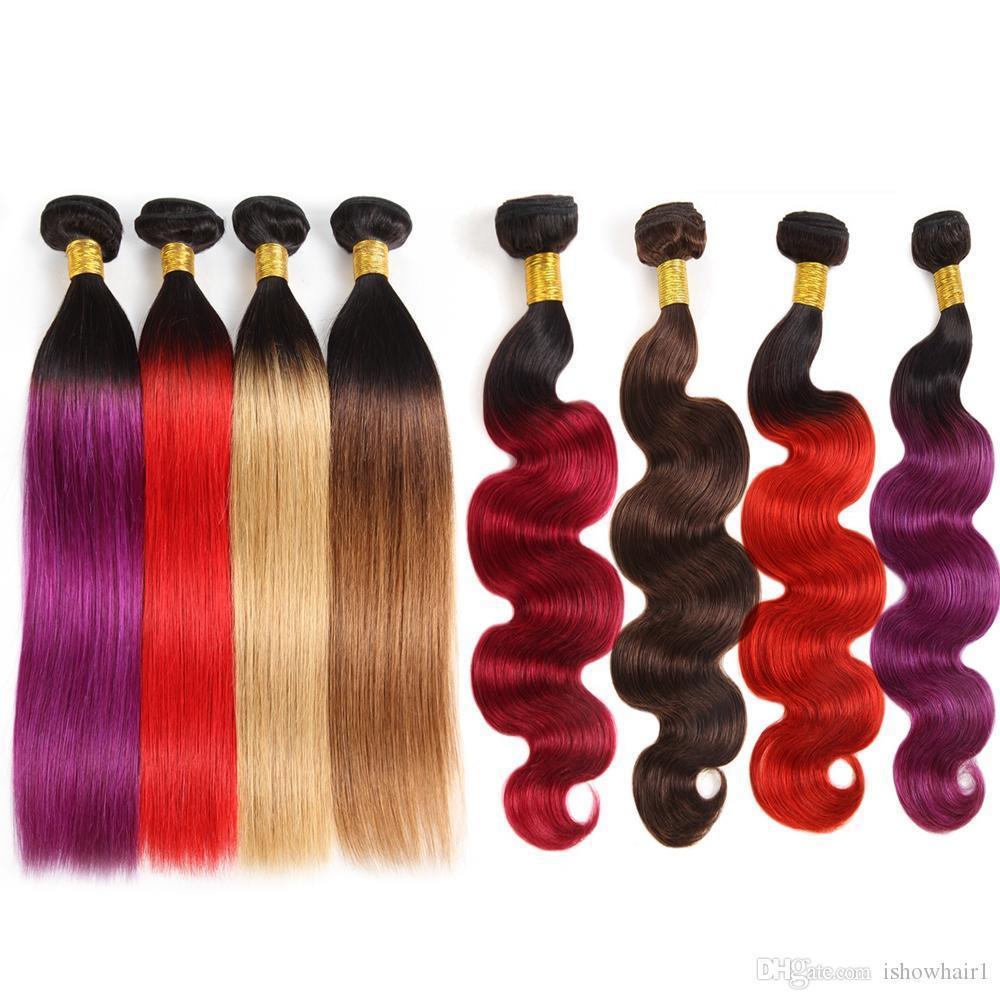 10A Humano Brasileiro Pacotes cabelo com fecho Ombre Cor do cabelo Extensões 3Bundles com laço Encerramento T1B roxo 99J onda do corpo em linha reta cabelo