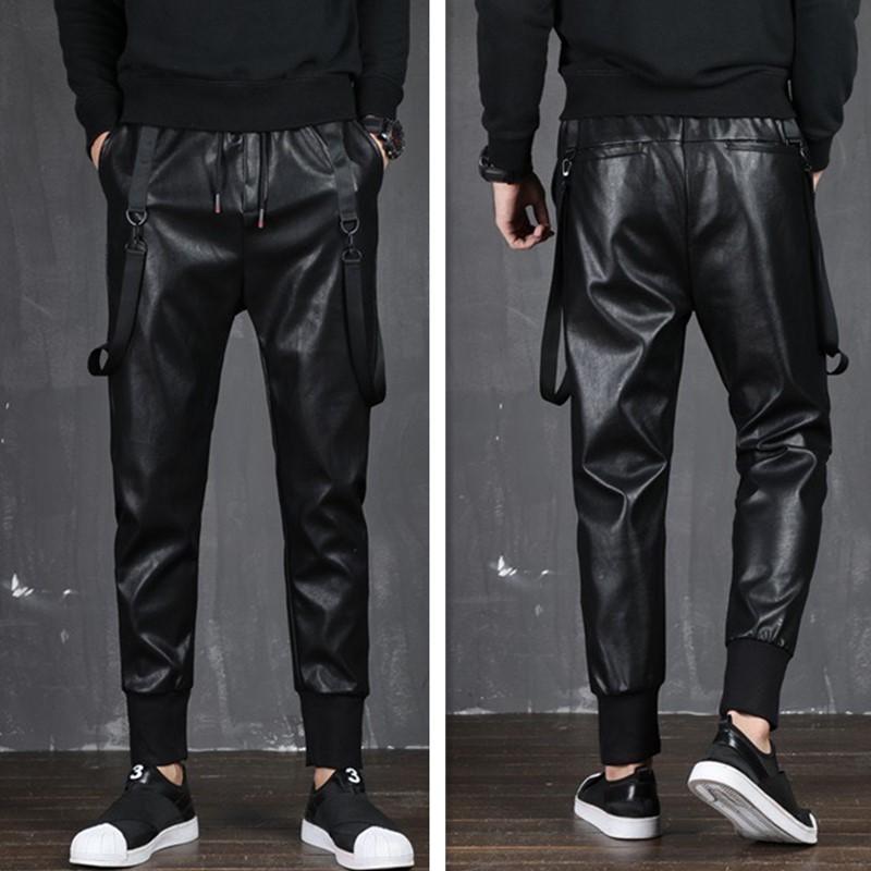 Новый 2019 мужская одежда парикмахер мода хип-хоп мотоцикл Локомотив кожаные шаровары плюс размер костюмы